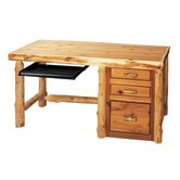 Traditional Cedar Log File Standard Desk Office Suite