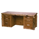 Traditional Cedar Log Executive Desk with 6 Drawers