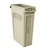 Slim Jim Receptacle with Venting Channels, Rectangular, 23gal, Beige