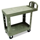 "Commercial Flat Shelf Utility Cart, 19-1/5"" Wide"