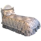 Girl's Duvet Set in Toile - Black