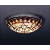 "Tiffany 7"" 3 Light Flush Mount"