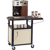 "Coffee 34"" Cabinet Cart with Side Shelf"