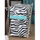 Turquoise Funky Zebra Laundry Hamper