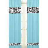 Zebra Turquoise Collection Window Panels