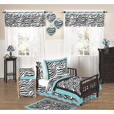 Turquoise Funky Zebra 5 Piece Toddler Bedding Set