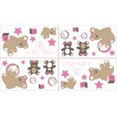 Teddy Bear Pink Collection Wall Decal Stickers