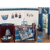Surf Blue and Brown Crib Bedding Collection
