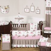Pink and Taupe Mod Elephant Crib Bedding Collection