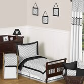 Black and Gray Zig Zag Toddler Bedding Collection
