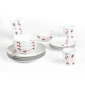 Blossom 16 Piece Porcelain Dinner Set in Red