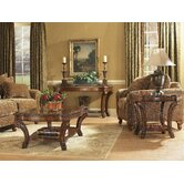 Old World Rectangular Coffee Table Set