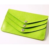 On the Go Pebble Grain 3 Flap Wallet in Lime