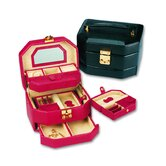Lizard Grain Ladies Calf Jewelry Box in Black