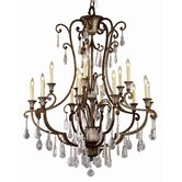 Crystal Flair 15 Light Chandelier with Crystal Accents