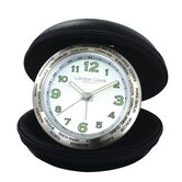 Folding Leather Travel Round Alarm Clock
