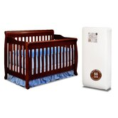 Athena Alice 3-in-1 Crib w/ Toddler Guardrail and 96-Coil Mattress in Cherry