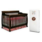 Alice 3-in-1 Crib w/ Toddler Guardrail and 260-Coil Mattress in Espresso