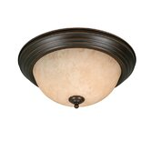 Multi Family Flush Mount with Tea Stone Glass in Rubbed Bronze