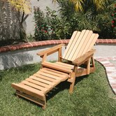 Western Red Cedar Ultimate Adirondack Chair with Adjustable Back and Retractable Ottoman