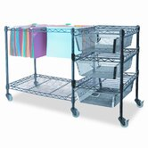 Mobile File Cart with Drawers, 38W X 15-1/2D X 28H