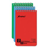 Wirebound Pocket Memo Book, Narrow Rule, 3 X 5, 60-Sheet, 3/Pack