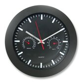 Wall Clock ,w/ Temp Humidity Gauge, 12&quot;, Black