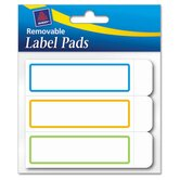 Removable Label Pads, 1 x 3, Assorted, 120/Pack
