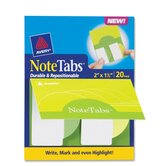 Notetab Book,Rnd Edge,2&quot;x1-1/2&quot;,20/PK,Citrus YW/Green Tabs