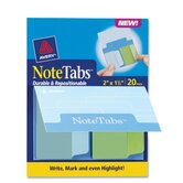 Notetab Book,Rnd Edge,2&quot;x1-1/2&quot;,20/PK,Cool BE/Green Tabs