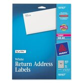 "Return Address Label, Laser/Inkjet, 1/2""x1/3/4"", 800 per Pack, White"