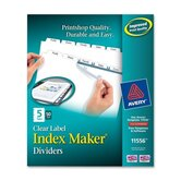 Prepunched Index Maker Dividers w/ Tabs, Laser, Punched, 5-Tabs, 50/BX, White