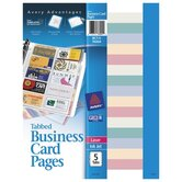 Tabbed Business Card Binder Page, 20 2 x 3-1/2 Cards/Page, Clear, 5 Pages/Pack