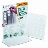 Self-Adhesive Ring Binder Labels for 1-1/2&quot; Binders, 3/4 x 2 1/2, Clear, 12/Pack
