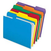 1/3 Cut Recy. Reinforced-Top File Folders, 1/3 AST Tab Cut, 100/BX, Assorted