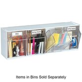Tilt Bins,Interlocking,4-Bins,23-5/8&quot;x6-5/8&quot;x8-1/8&quot;,White