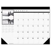 Black-and-White Photo Monthly Desk Pad Calendar, 22 x 17, 2013