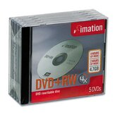 DVD+RW Discs with Jewel Cases, 5/Pack
