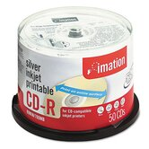 Printable CD-R Discs, 700MB/80min, 52x, Spindle, Silver, 50/Pack