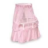 Oval Doll Bassinet with Canopy and Pink Gingham Bedding