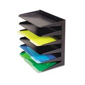Steelmaster Multi-Tier Horizontal Legal Organizers, Six-Tier, Steel, Black