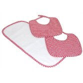 Tadpoles Classics Three Piece Bib & Burp Cloth Gift Set in Red
