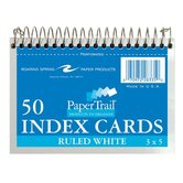 "Wirebound Index Cards,5""x3-1/2"",50 SH,Ruled,Perforated,White"