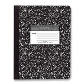 "Composition Book, Unruled, 50 Sheets, 9-3/4""x7-1/2"", Black Cover."