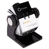 Wood Tones Open Rotary Business Card File Holds 400 2-5/8 x 4 Cards, Black