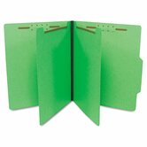 Economy Classification Folders, Letter, Six-Section, Green, 25/Box