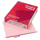 Hanging File Folders, 1/5 Tab, 11 Point Stock, Letter, Pink, 25 per Box