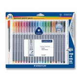 Triplus Fineliner Pens,.3mm, Metal Clad Tip, 20 per Pack, Assorted