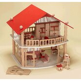 Wood Doll House with Furniture