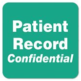 """Patient Record Confidential"" Medical Labels, 2 x 2, Green, 500 per Roll"